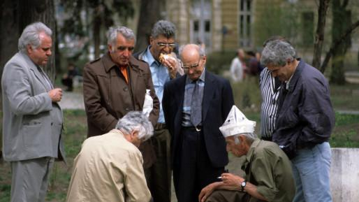 Men playing chess on a street in Bulgaria