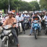 Motorcycles filling the streets in	Saigon, Vietnam