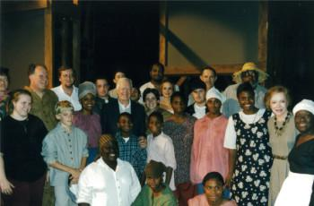 Jimmy Carter with the cast