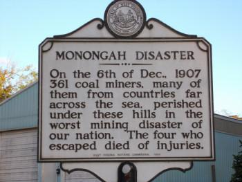 A sign listing the details of the Monongah disaster.
